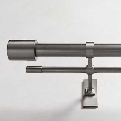 "Oversized Adjustable Metal Double Rod, 48""-88"", Gunmetal - West Elm"
