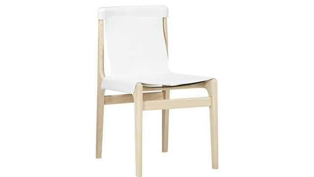 burano white leather sling chair - CB2