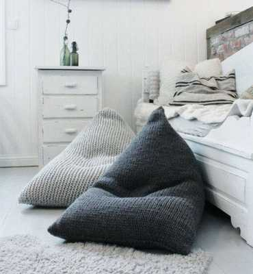 Wool knitted light grey/dark grey kids' bean bag /Chunky wool adult bean bag chair / Nursery floor pillow - Etsy