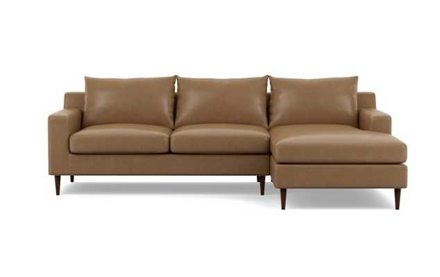 SLOAN LEATHER Leather Sectional Sofa with Right Chaise , Oiled Walnut Tapered Round Wood - Interior Define