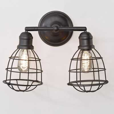 WIRE CAGE ADJUSTABLE SCONCE - 2 LIGHT - Shades of Light