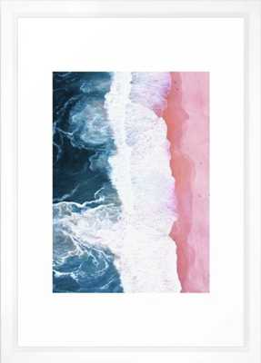 Aerial Coastal View Framed Art Print - 15'' x 21'' - Vector white frame - With mat - Society6