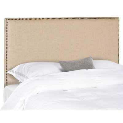 Safavieh Sydney Queen Upholstered Headboard in Hemp with Brass Nailhead Trim - Bed Bath & Beyond