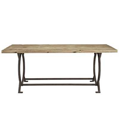 EFFUSE WOOD TOP DINING TABLE IN BROWN - Modway Furniture