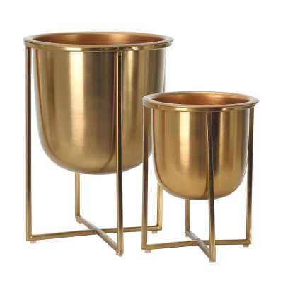 Stickney 2 Piece Metal Pot Planter Set - Wayfair