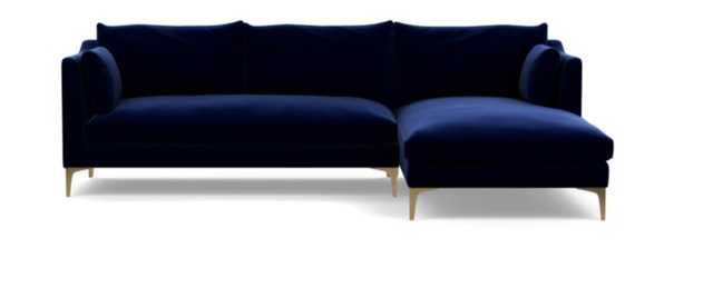 "Caitlin by The Everygirl Sectional Sofa with Right Chaise in Oxford Blue Mod Velvet with Brass Plated Sloan L Leg, 98""L - Interior Define"