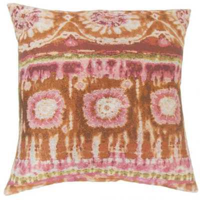 "Xantara Ikat Pillow Guava - 18''x 18"" - Poly insert - Linen & Seam"