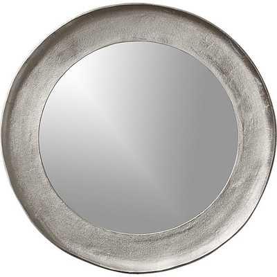 chev rough cast round silver mirror - CB2
