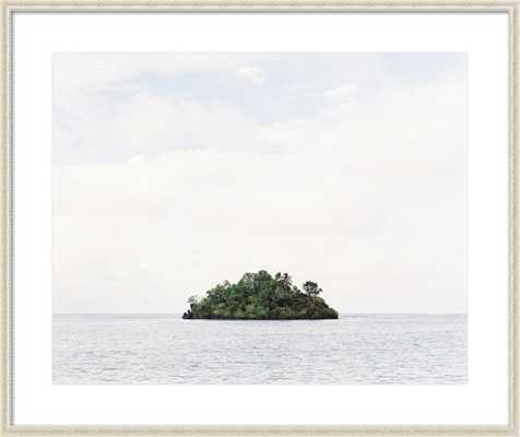 "Island - 37.5x31.5"" - Antique White Wood Frame with Matte - Artfully Walls"