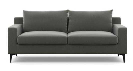 "Sloan Sofa - 87"" - Heather Performance Felt - Matte Black L Legs - Interior Define"