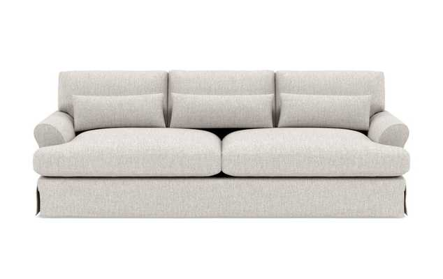 Maxwell Slipcovered Sofa with Wheat Crossweave Fabric and Oiled Walnut with Brass Cap legs - 90'' - Interior Define