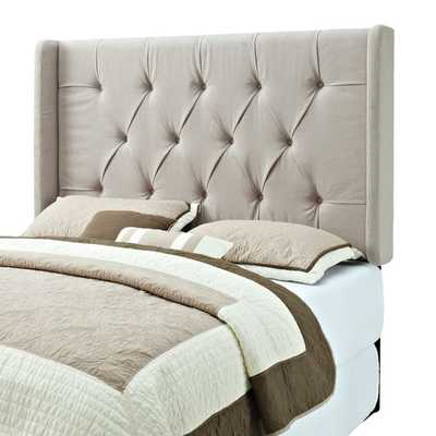 Pulaski Tufted Upholstered Full/Queen Headboard with Wings in Tan - Bed Bath & Beyond