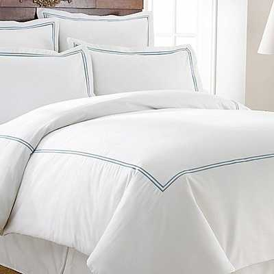 Italian Hotel Collection Double Marrowing King Duvet Cover Set in Blue - Bed Bath & Beyond