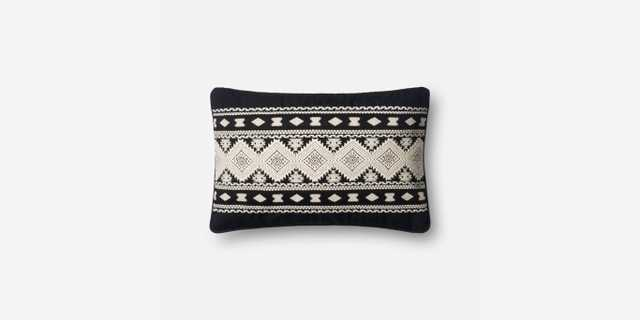 """PILLOWS - BLACK / WHITE - 13"""" X 21"""" with Poly - Loma Threads"""