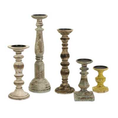 Kanan Wood Candleholders with Distressed Finish - Set of 5 - Mercer Collection