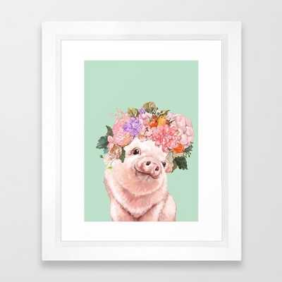 Baby Pig with Flowers Crown in Pastel Green Framed Art Print - Society6