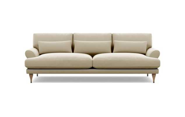 "MAXWELL Fabric Sofa Drift Sunbrella-White Oak with Antique Cap Stiletto Leg - 82"" wide - Interior Define"
