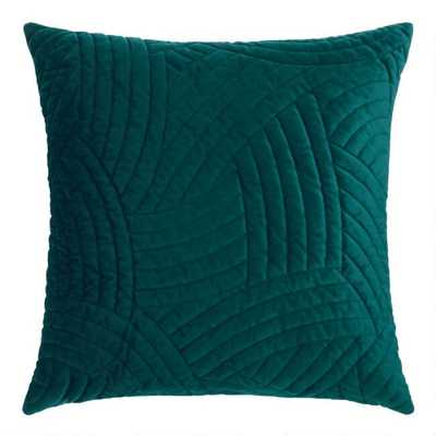 Dark Teal Quilted Velvet Throw Pillow - World Market/Cost Plus