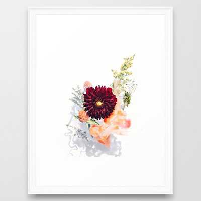 "Floral Art Print - Flower Bouquet #2 - Scoop White Framed - 20"" X 26"" - Society6"
