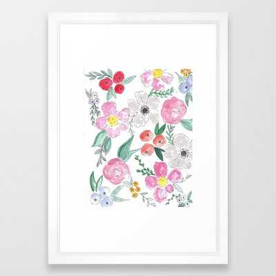 Floral Peony and Rose Watercolor Print Framed Art Print - 15x21 - vector white frame - Society6