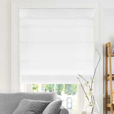 Chicology Cut-to-Width Snow Cordless Fabric Roman Shade - 27 in. W x 64 in. L, Belgian Snow (Privacy & Light Filtering) - Home Depot