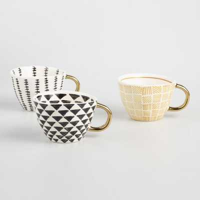 Geo Mugs with Gold Handles Set of 3: Black/Gold - Stoneware by World Market - World Market/Cost Plus