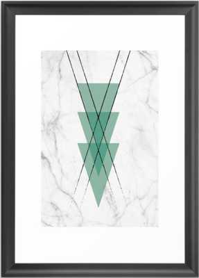 Marble Scandinavian Design Geometric Triangle Framed Art Print -black - Society6