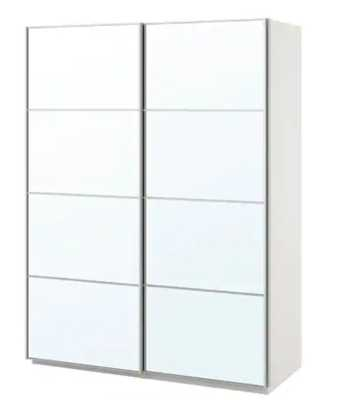 PAX Wardrobe, white, Auli mirror glass - Ikea