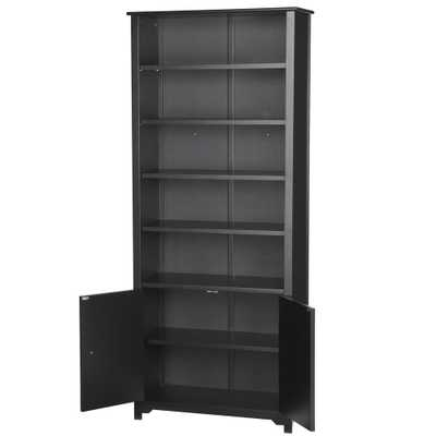 Oxford Black Storage Open Bookcase - Home Depot