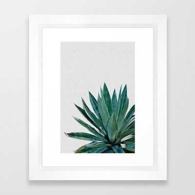 "Agave Cactus Framed Art Print - 10""x12"" - vector white - Society6"
