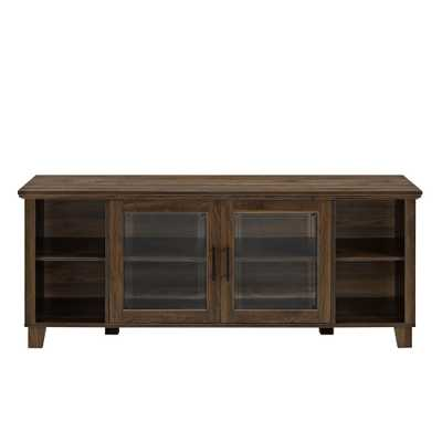 Columbus Grey Wash TV Stand with Middle Doors, Dark Walnut - Home Depot
