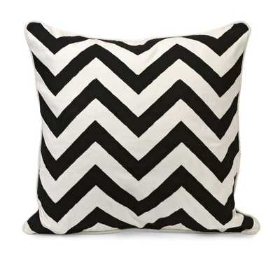 Chevron Black and White Embroidered Pillow - Mercer Collection