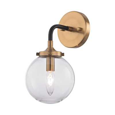 Titan Lighting Boudreaux 1-Light Matte Black and Antique Gold Wall Sconce - Home Depot