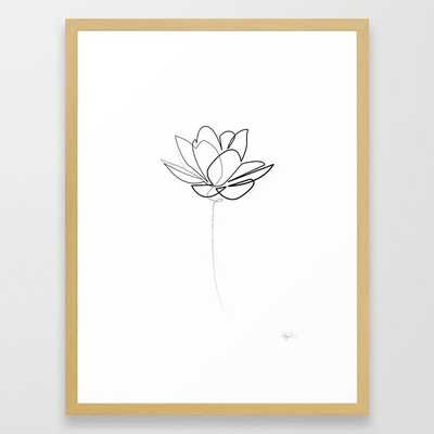 One line Lotus B&W Framed Art Print by Quibe - Society6