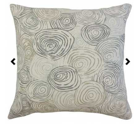"Blakesley Graphic Pillow Mineral - 18"" x 18"", Down Insert - Linen & Seam"