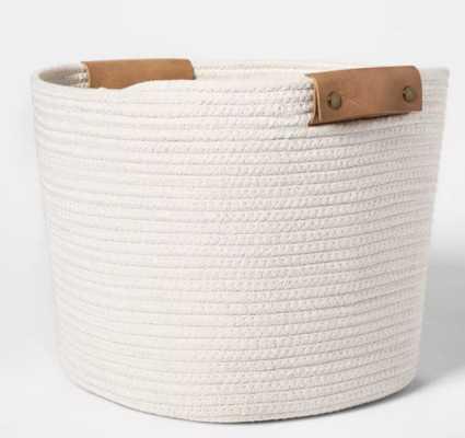 "Decorative Coiled Rope Square Base Tapered Basket Medium White 13"" - Threshold™ - Target"