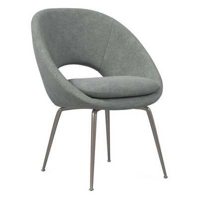 Orb Velvet Dining Chair, Distressed Velvet, Metal, Antique Bronze - West Elm