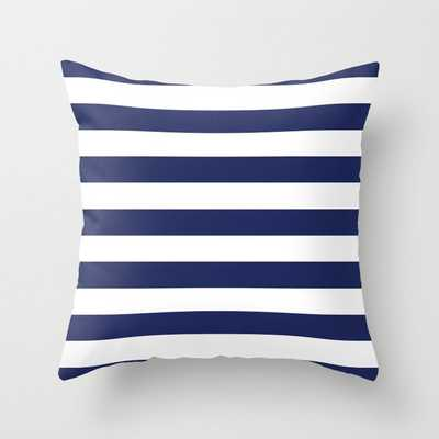 Navy Blue and White Stripes Throw Pillow Outdoor - Society6