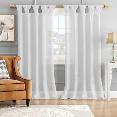 Mysliwiec Floral Twist Solid Semi-Sheer Tab Top Single Curtain Panel - Wayfair