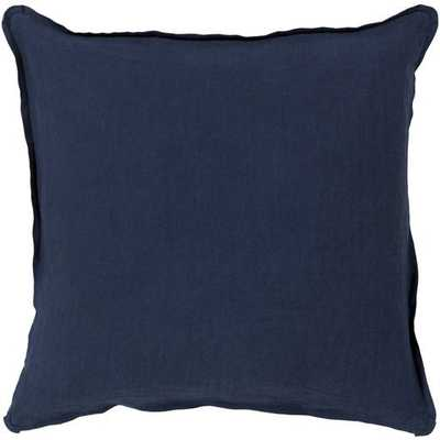 Solid Navy Linen Pillow, with poly insert - Neva Home