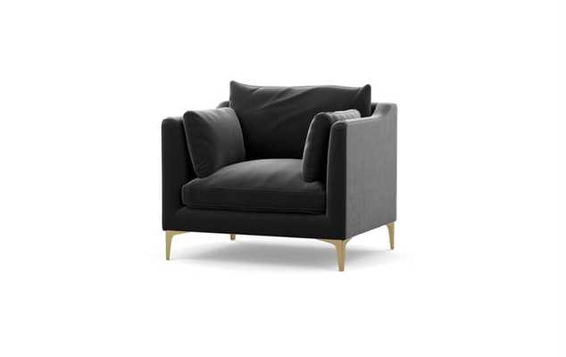 Caitlin by The Everygirl Chairs in Narwahl Fabric with Brass Plated legs - Interior Define