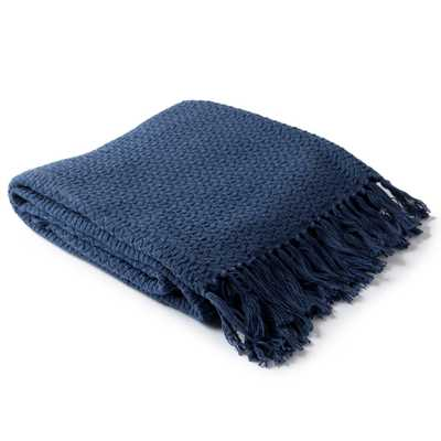 Sandford Navy (Blue) Cotton Throw - Home Depot