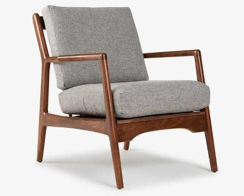Gray Collins Mid Century Modern Chair - Taylor Felt Grey - Walnut - Joybird