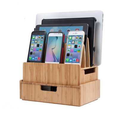 Charging Station Stand Combo Bamboo Drawer; Extra Storage Smartphones, Tablets, Laptops & Organizer Office Supplies Stationary Items - Amazon