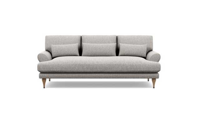 Maxwell Sofa with Earth Fabric and White Oak with Antique Cap legs- bench cushion - Interior Define