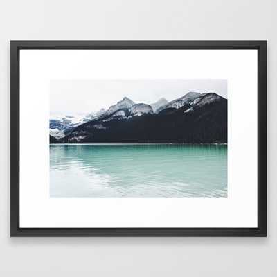 "Lake Louise Reflections Framed Art Print- 20"" X 26""- Vector Black - Society6"