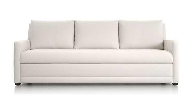 Reston Queen Trundle Sleeper Sofa, Newport Salt, Black Walnut Leg - Crate and Barrel