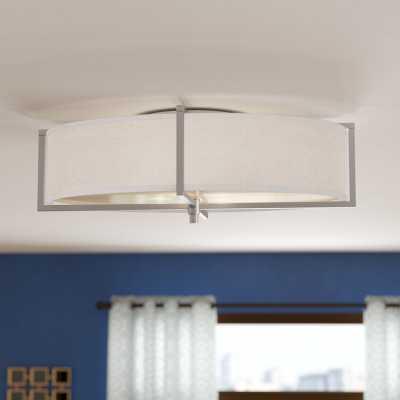 Benavidez 6-Light Flush Mount, Slate Gray Fabric, Fluorescent Bulb - Wayfair