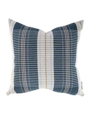 """OXFORD WOVEN PLAID PILLOW WITHOUT INSERT, NAVY, 24"""" x 24"""" - McGee & Co."""