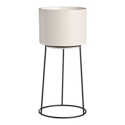 Ivory Ceramic Amelia Planter With Metal Stand - World Market/Cost Plus